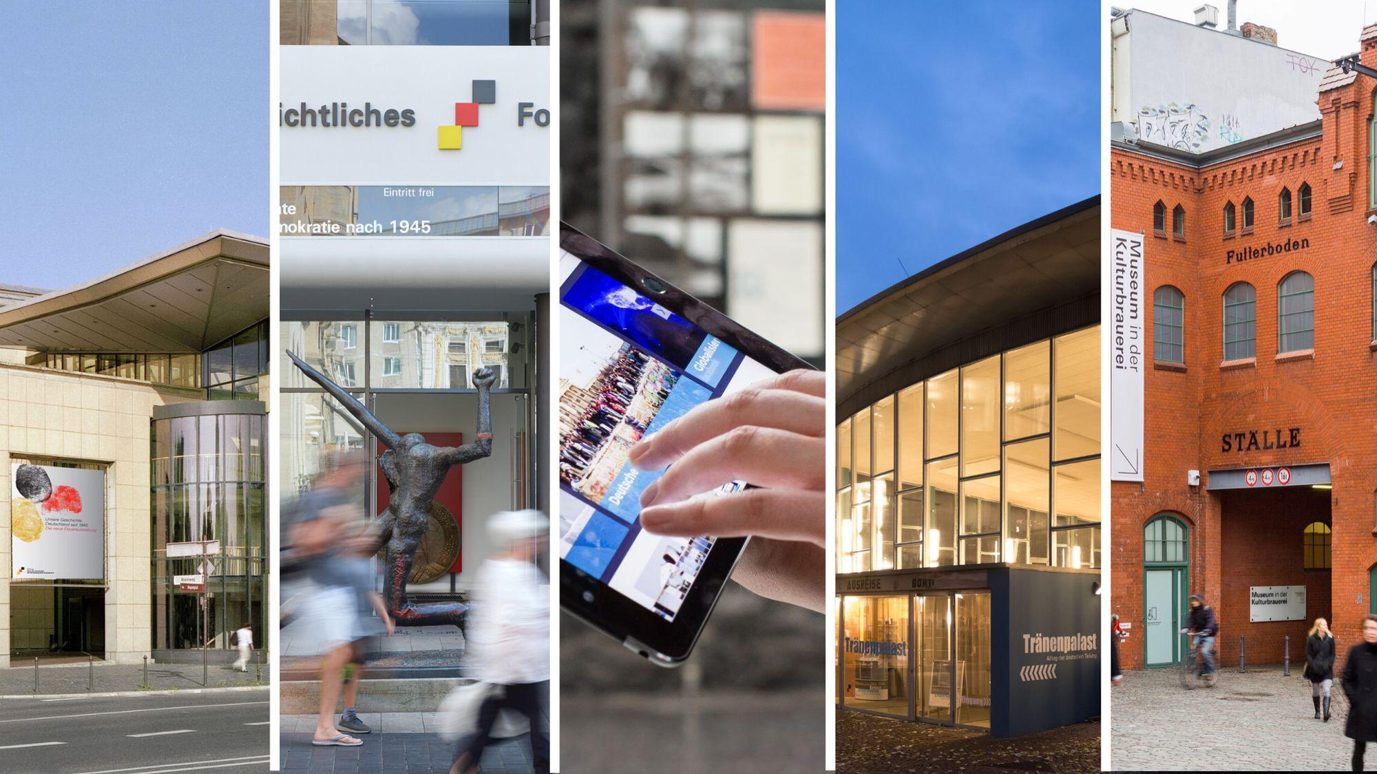 Die vier Museumsgebäude der Stiftung und ein Tablet mit dem Online-Angebot.