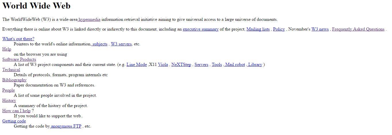 Screenshot erste Seite des WWW