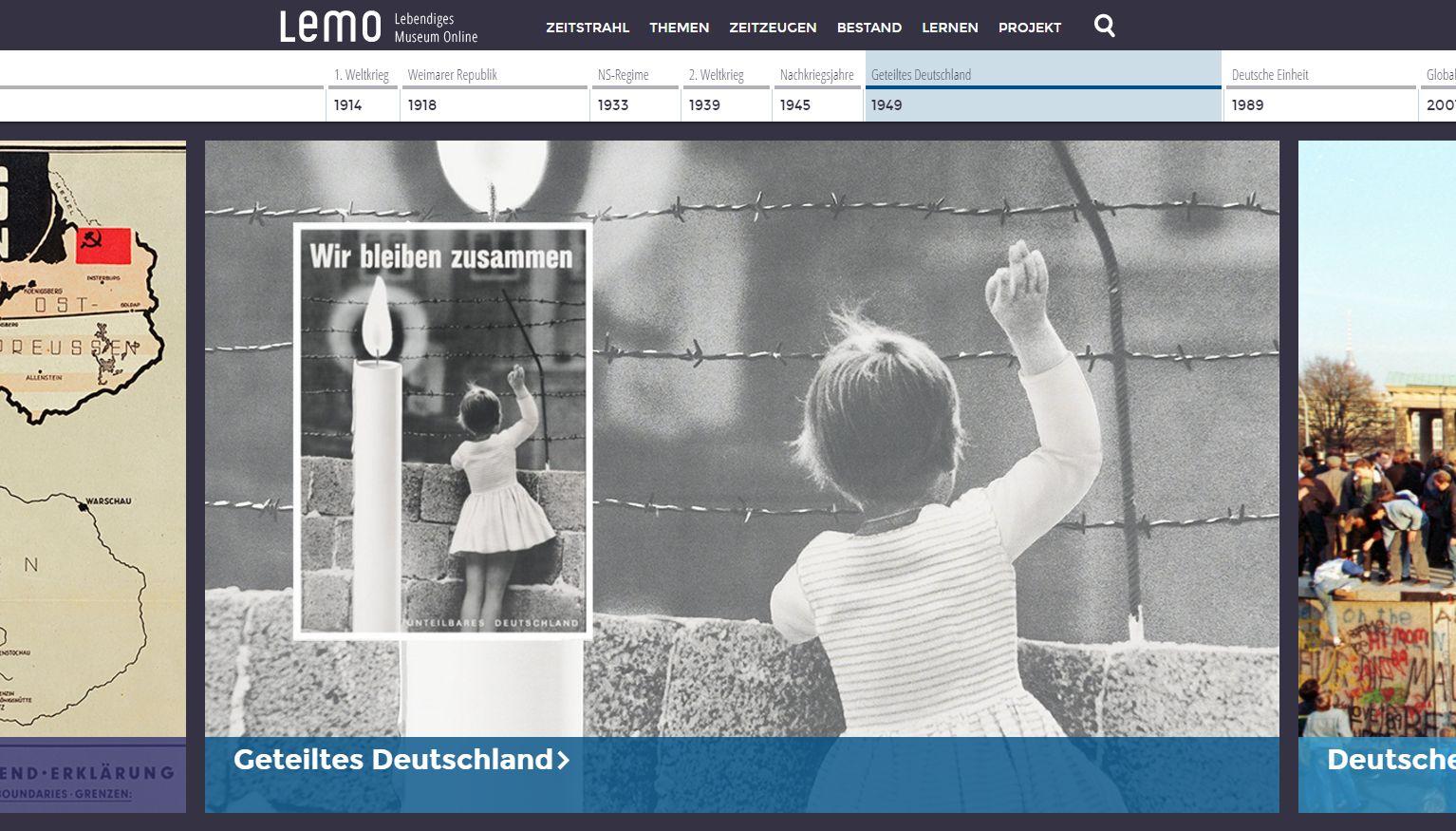 Screenshot der Startseite mit Zeitstrahl und einer großen Bildergalerie