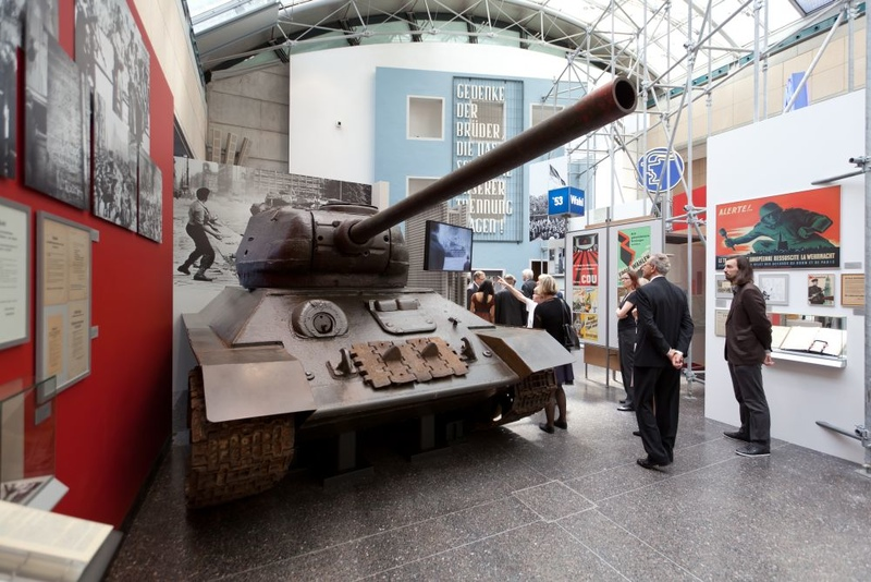 A Soviet T34 tank in the permanent exhibition at Haus der Geschichte in Bonn