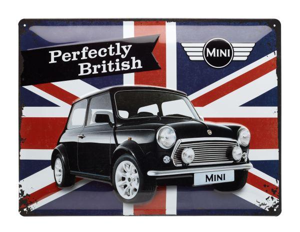 Blechschild mit Union Jack und dem Bild eines Mini Coopers.