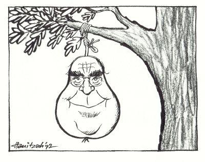 Karikatur Helmut Kohl als Birne