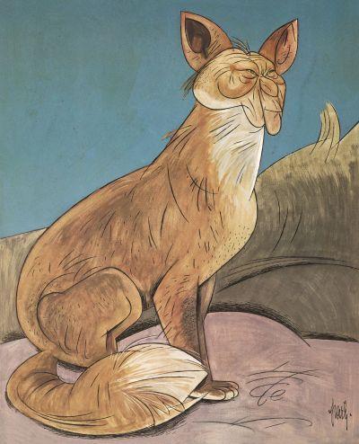 Karikatur von Josef Partykiewicz, Konrad Adenauer als Fuchs