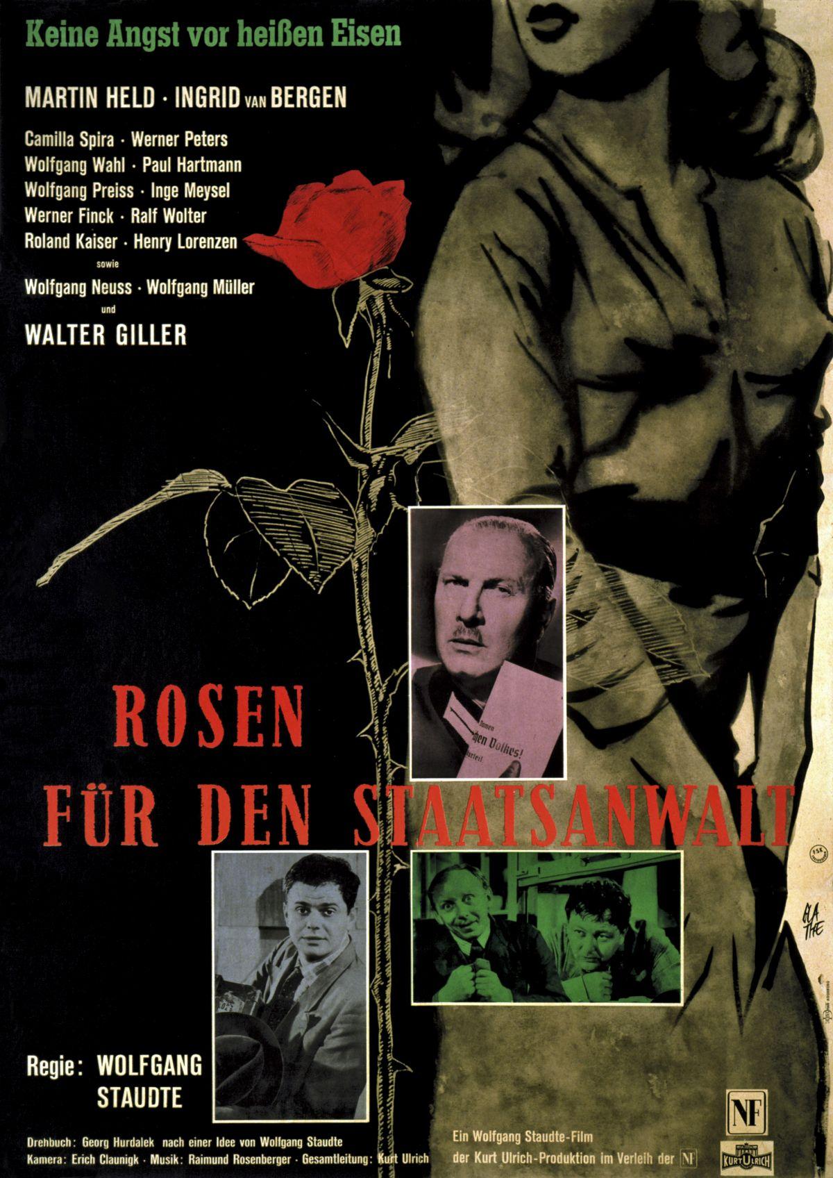 Eine große rote Rose und ein bekleideter Frauenkörper von den Knien bis zur Nase dominieren das Plakat, dazu drei kleine Bilder mit Filmszenen