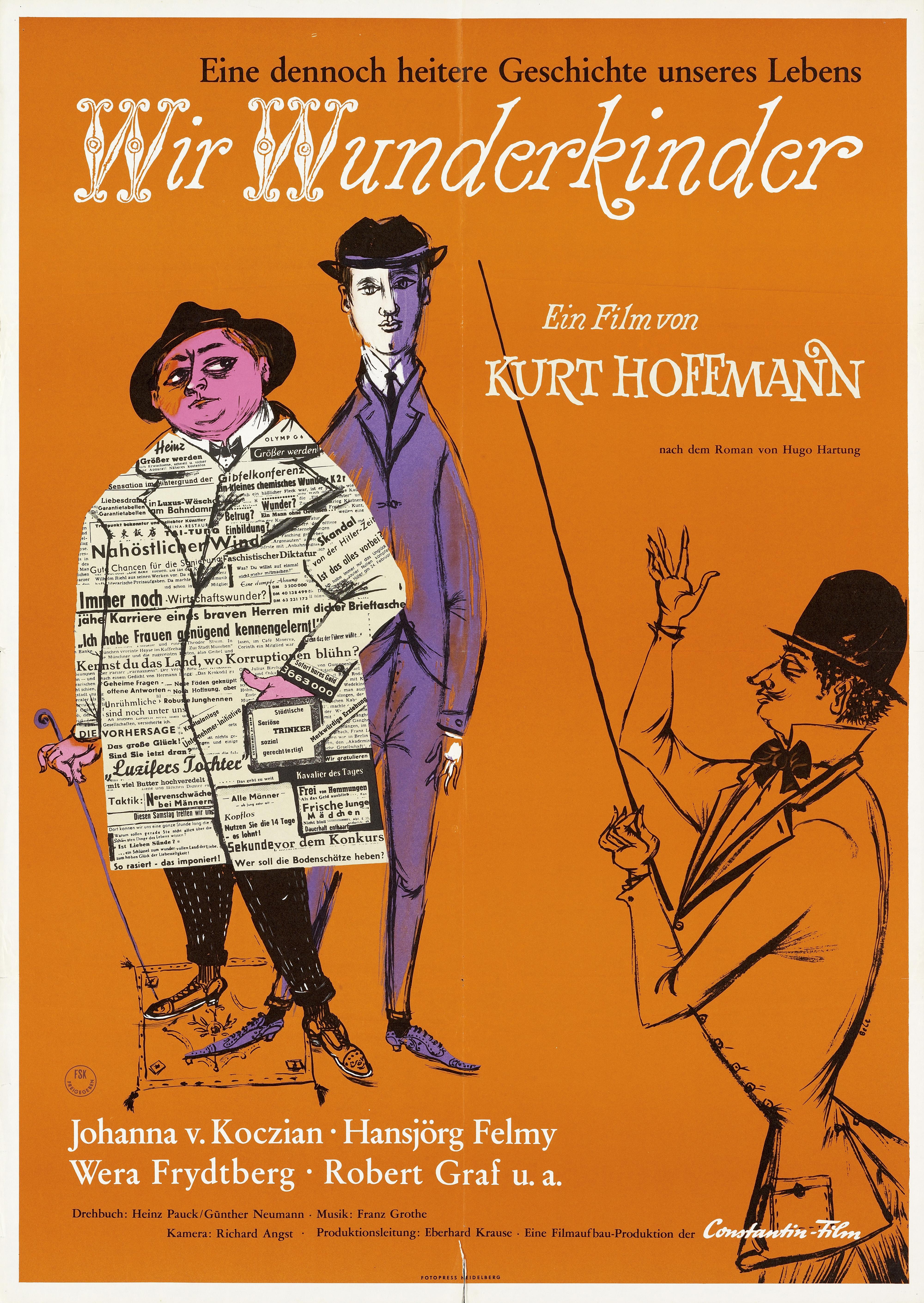 Auf dem Plakat sind drei Herren mit Anzügen und Hüten zu sehen, zwei stehen direkt nebeneinander, der dritte zeigt mit einem langen dünnen Stock auf sie.