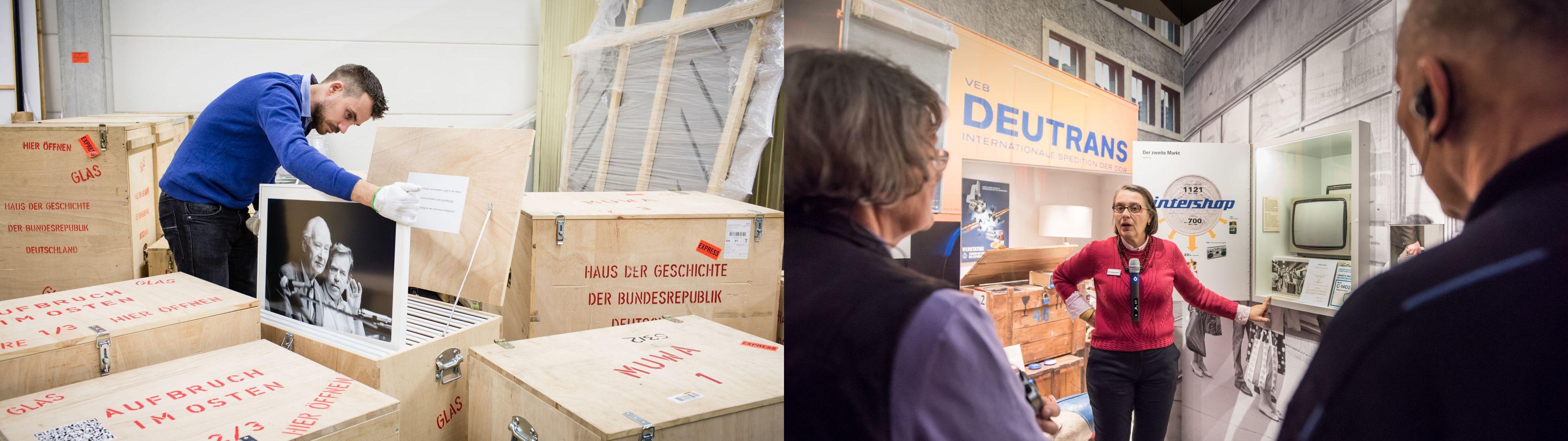Ein Museumsmitarbeiter packt Kisten aus, daneben Begleitung in einer Ausstellung