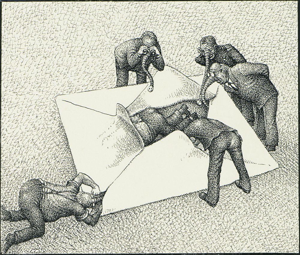 Karikatur 'Verletzung des Briefgeheimnisses'