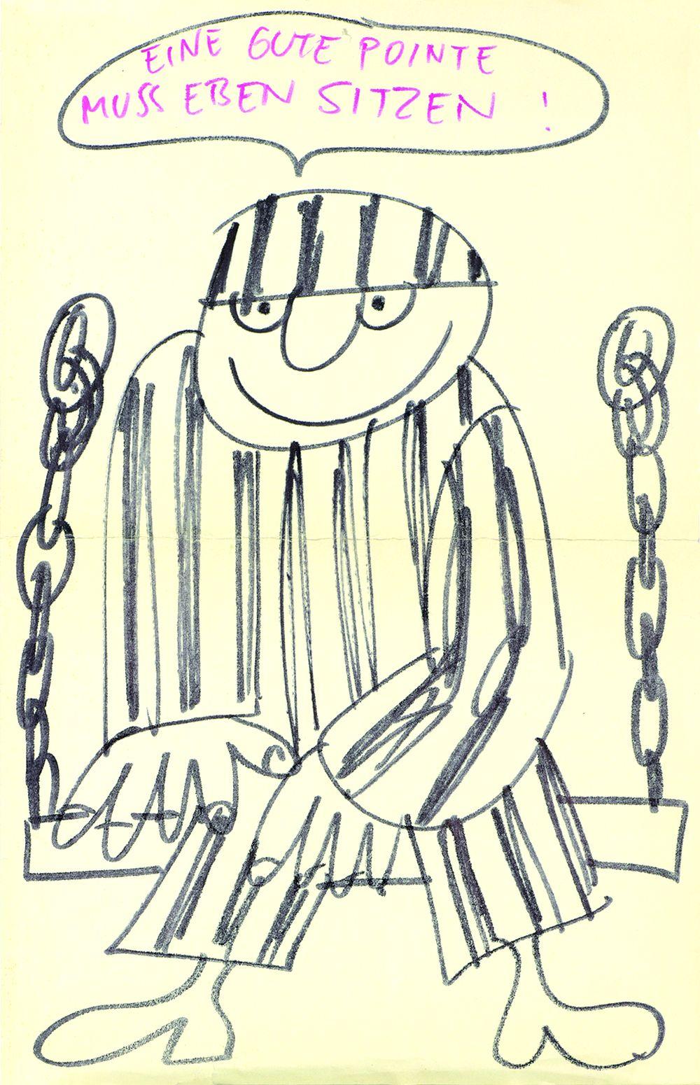 Karikatur 'Eine gute Pointe muss eben sitzen!'