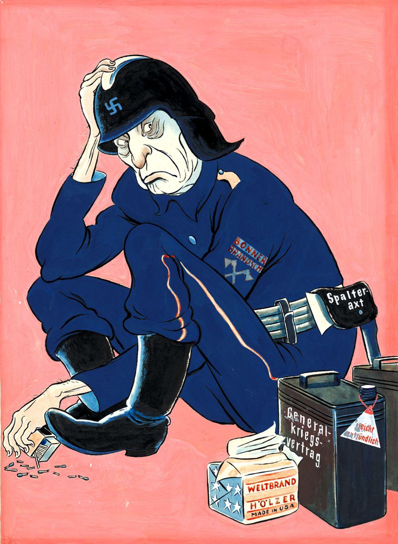 Karikatur 'Trotz meiner Verkleidung erkennt man mich doch überall als Brandstifter Nr. 1'