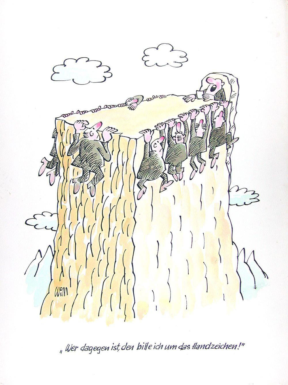 Karikatur 'Wer dagegen ist, den bitte ich um das Handzeichen'