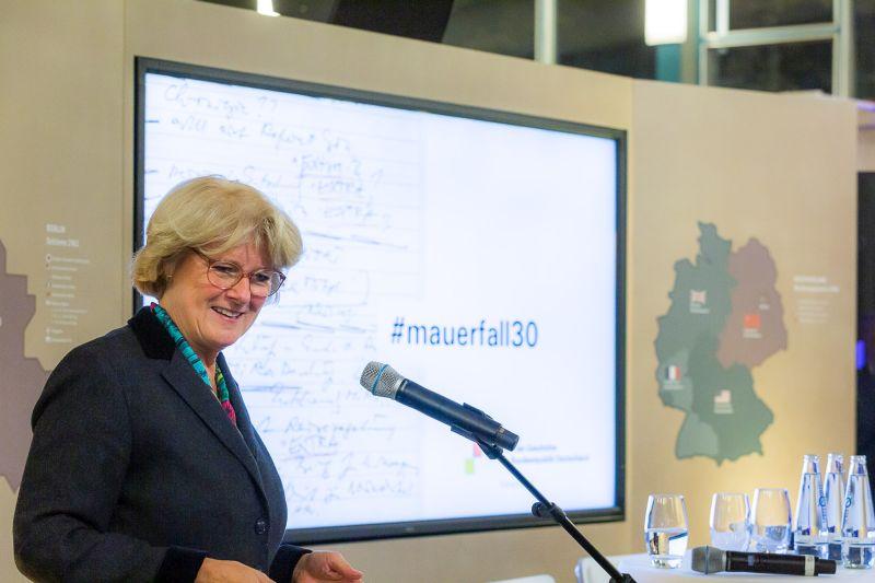 Kulturstaatsministerin Monika Grütters bei einer Rede im Tränenpalast am 7. November 2019