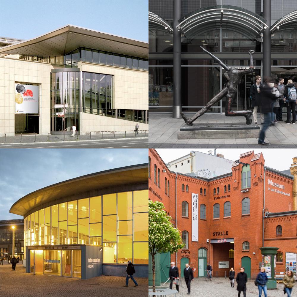 Außen-Ansicht von allen vier Museen in Bonn, Leipzig und Berlin