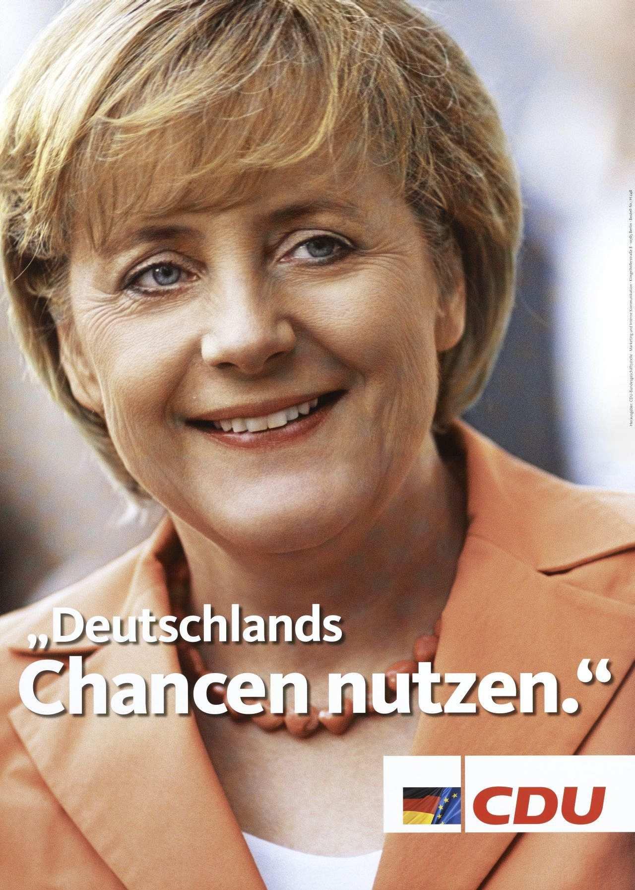wahlplakat der cdu zur bundestagswahl 2005 mit kanzlerkandidatin angela merkel und dem slogan - Ulrich Merkel Lebenslauf