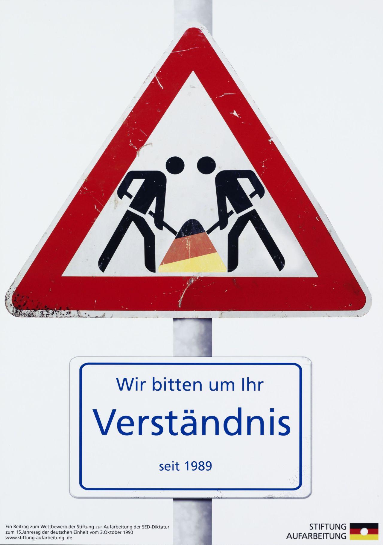 Plakat 'Baustellenschild Deutsche Einheit'