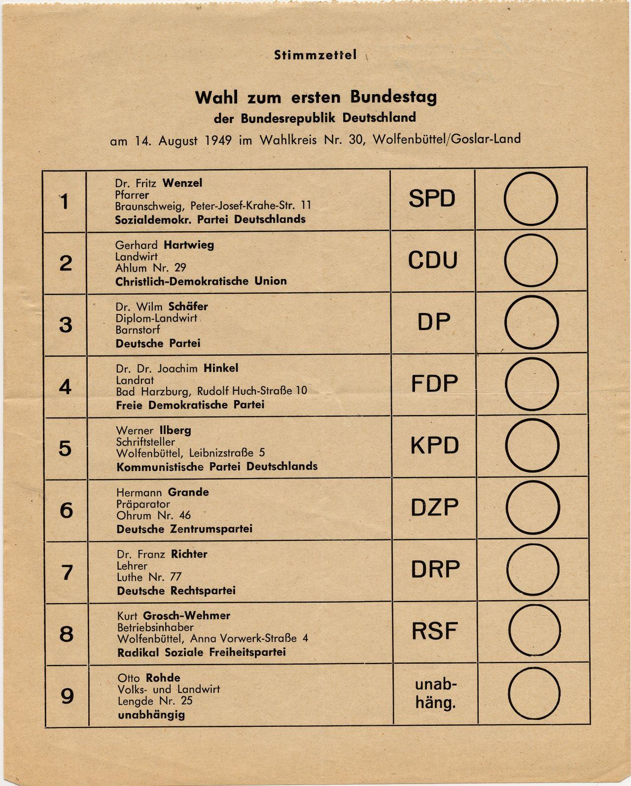 Abgebildet ist ein Stimmzettel zur ersten Bundestagswahl am 14. August 1949 für den Wahlkreis Wolfenbüttel/Goslar-Land.