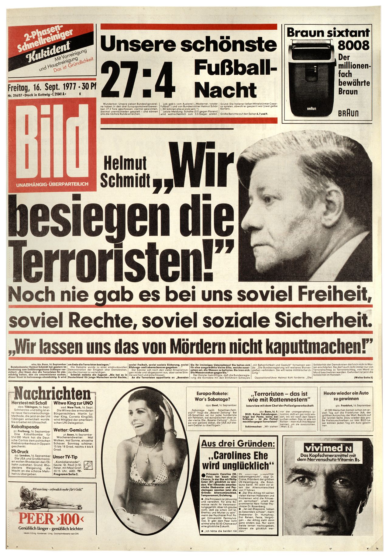 lemo objekt bild zeitung helmut schmidt wir besiegen die terroristen. Black Bedroom Furniture Sets. Home Design Ideas