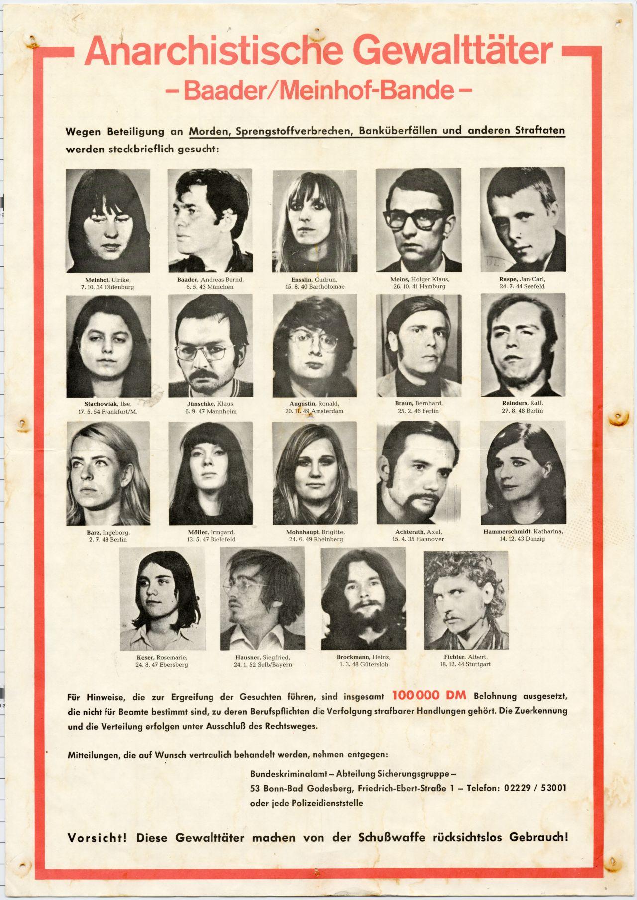 Lemo Objekt Plakat Anarchistische Gewalttäter Baadermeinhof Bande