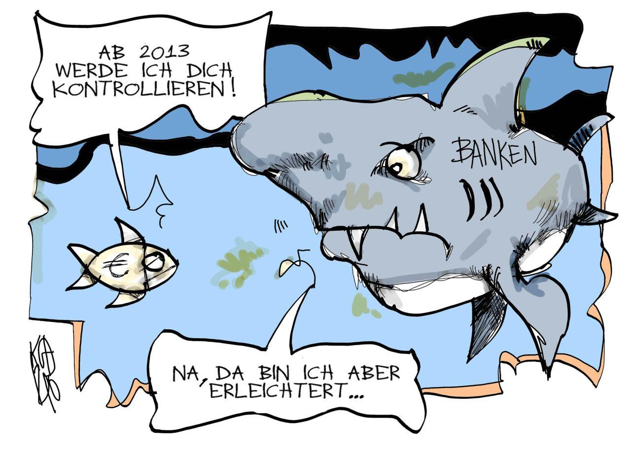 Karikatur von Kostas Koufogiorgos zur EU-Bankenaufsicht