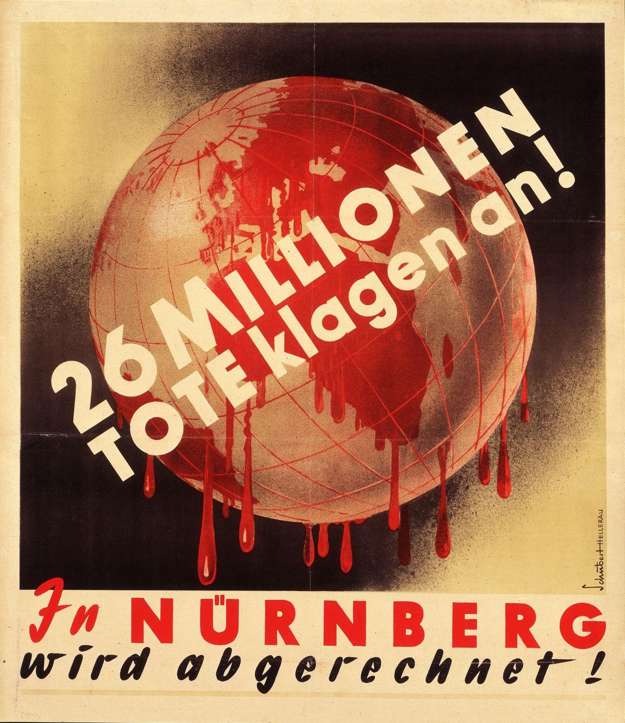 Plakat zu den Nürnberger Kriegsverbrecherprozessen